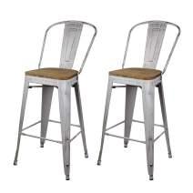 GIA High Back Armless Metal Bar Chair, 2-Pack, Antique White/Dark Wood