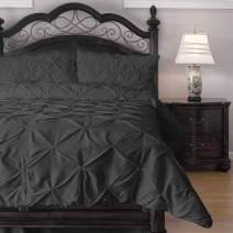 ExceptionalSheets Full Size Comforter Set - 3 Piece Down Alternative Comforters - Decorative Pinch Pleat Pintuck Design - Wrinkle Resistant Microfiber Bed Set - Charcoal
