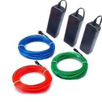 TGHCP-3 Pack 9FT/3M Neon Glowing EL Wire with Battery Pack (Blue,Green,Red)