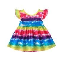 Unicorn Toddler Girls Cotton Sleeveless Rainbow Dress Stripe Flying Sleeve Skirt