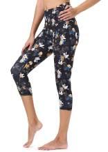 Mint Lilac Women's High Waist Workout Printed Yoga Leggings Athletic Capri Tummy Control Running Pants