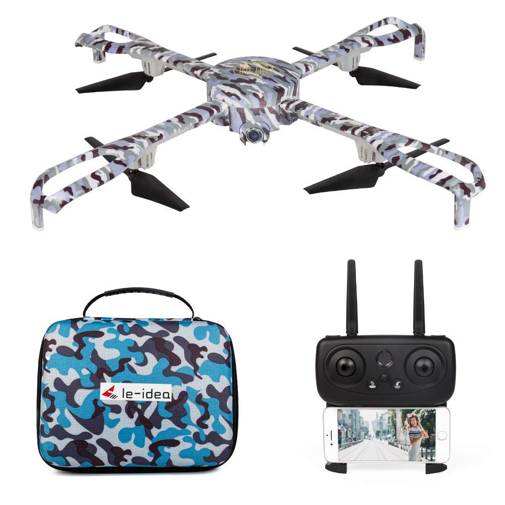 le-idea IDEA9 FPV RC Drone with 1080p HD Camera Live Video and GPS Return Home, 120° Wide-Angle 5GHz WiFi Quadcopter with Altitude Hold Headless Mode Map Location, RTF One Key Take Off/Landing