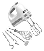KitchenAid KHM926WH 9-Speed Digital Hand Mixer with Turbo Beater II Accessories and Pro Whisk - White