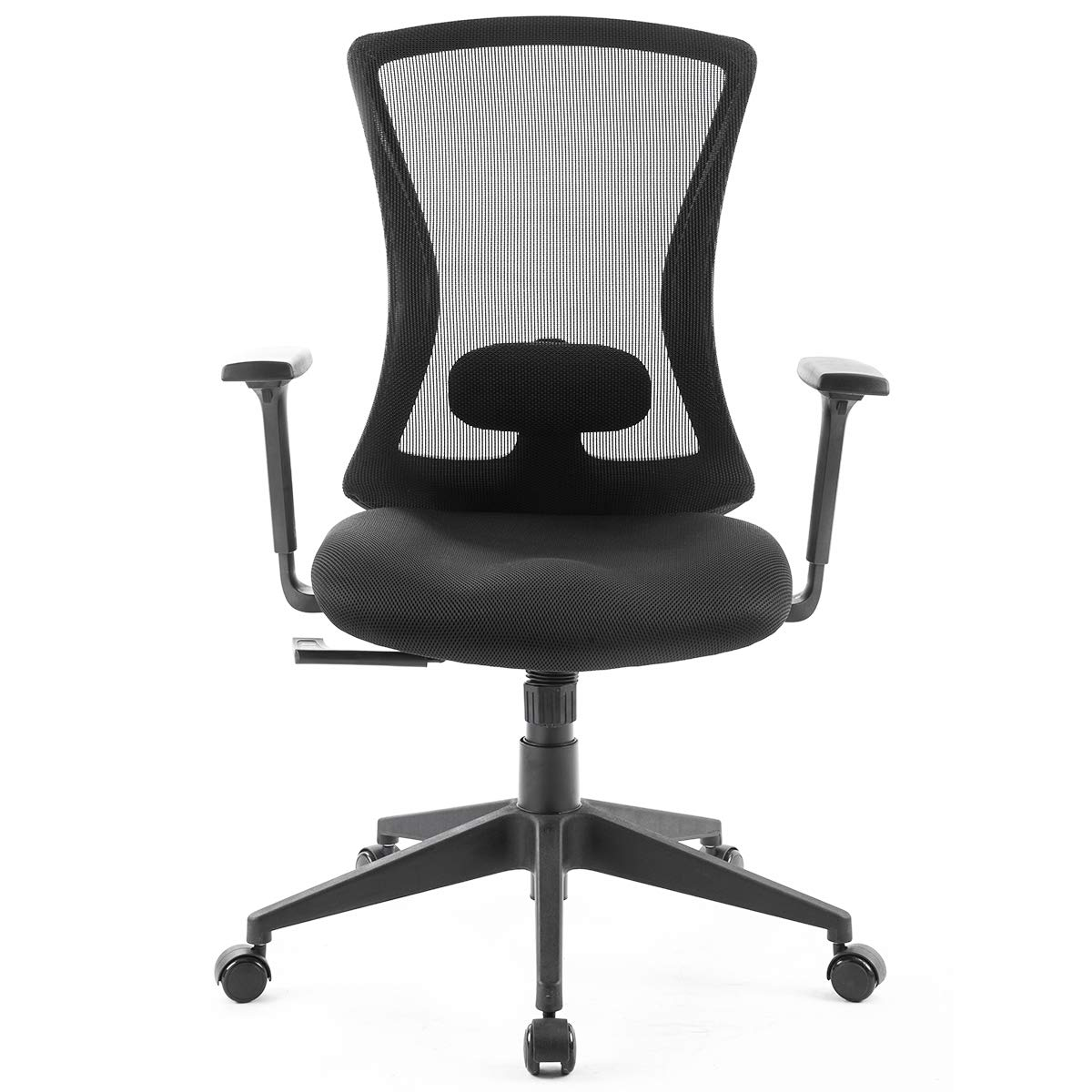 MIERES Ergonomic Office Chair Use Mesh Fabric and Plating Base with Adjustable Headrest and Flip-up Armrest,New Tilt Locking Mechanism, Black