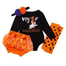 My First Halloween Clothes Newborn Baby Girl Long Sleeve Romper+Bowtie Shorts+Headband and Leg Warmer 4Pcs Outfit Set