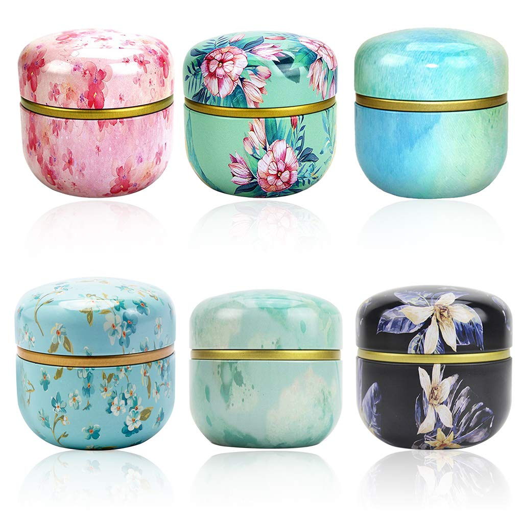Amycute 6 Pack Mini Tea Storage Containers Tea Tins, Candle Coffee Herb Chocolate Sugar Spices Storage Canister,Metal PortableOdorless Moisture-Proof Eco-Friendly Box