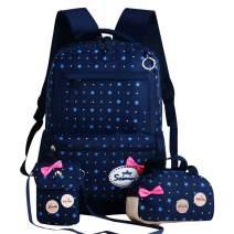 JiaYou Girls Cute Lunch Bag Purse/Pencil Bag School Backpack 3 Sets(24L,2# Dark Blue)