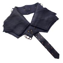 Leather Utility Belt | Winged, 4 Pocket | Saddle | travel, festival, hip bag, fanny pack, fits iPhone, Passport (Black)