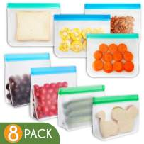 Vanmor Reusable Storage Bags, Eco-friendly Ziplock Snack Bag Washable, Leakproof Extra Thick Freezer Bag for Lunch Sandwich, Fruit Cereal Marinate Meats Prep Food, Travel Item Home Organization(8Pack)