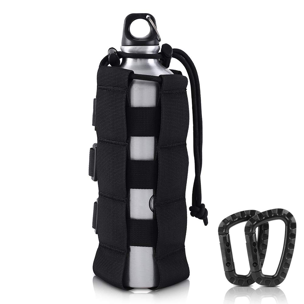 AIRSSON Molle Water Botttle Pouch Sports Pouch Bag Water Bottle Holder Tactical Adjustable Drawstring Water Bottle Carrier for 17-42 OZ Bottle Tactical Military Outdoor Activities