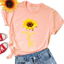 BIOHANBLE Womens Cute Funny Sunflower Faith Spirituality Graphic Tee Shirts Summer Casual Short Sleeve Tops
