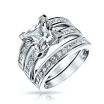 Bling Jewelry 2CT Square Solitaire Princess Cut AAA CZ Pave Band Guard Enhancers Engagement 3Pcs Wedding Ring Set Sterling Silver