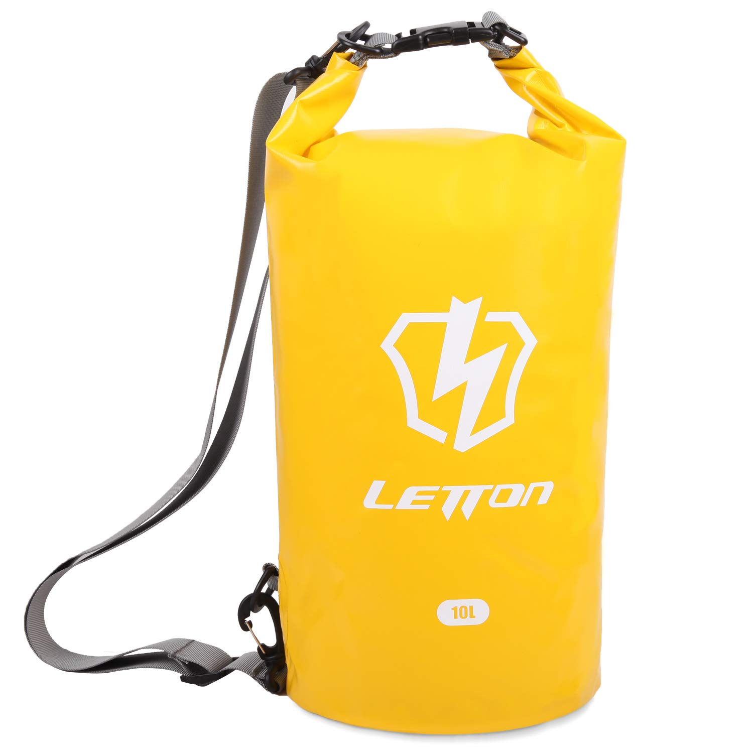LETTON Waterproof Dry Bag,Floating and Roll Top Sack Keeps Gear Dry with Adjustable Shoulder Strap for Kayaking,Boating,Surfing,Fishing,Swimming,Rafting,Hiking,Beach-10L