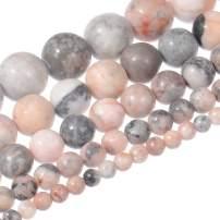 "Natural Stone Beads 10mm Pink Zebra Jasper Beads Gemstone Round Loose Beads Crystal Energy Stone Healing Power for Jewelry Making DIY,1 Strand 15"""