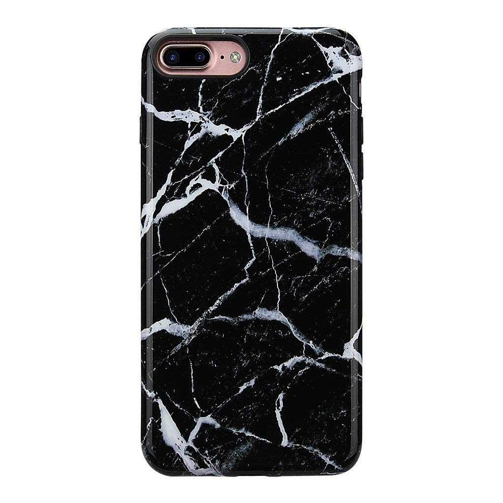 iPhone 8 Plus Marble Case/iPhone 7 Plus Case for Girls,GOLINK Glossy Marble Series Slim-Fit Ultra-Thin Anti-Scratch Shock Proof Dust Proof TPU Gel Case for iPhone 7/8 Plus- Black Marble