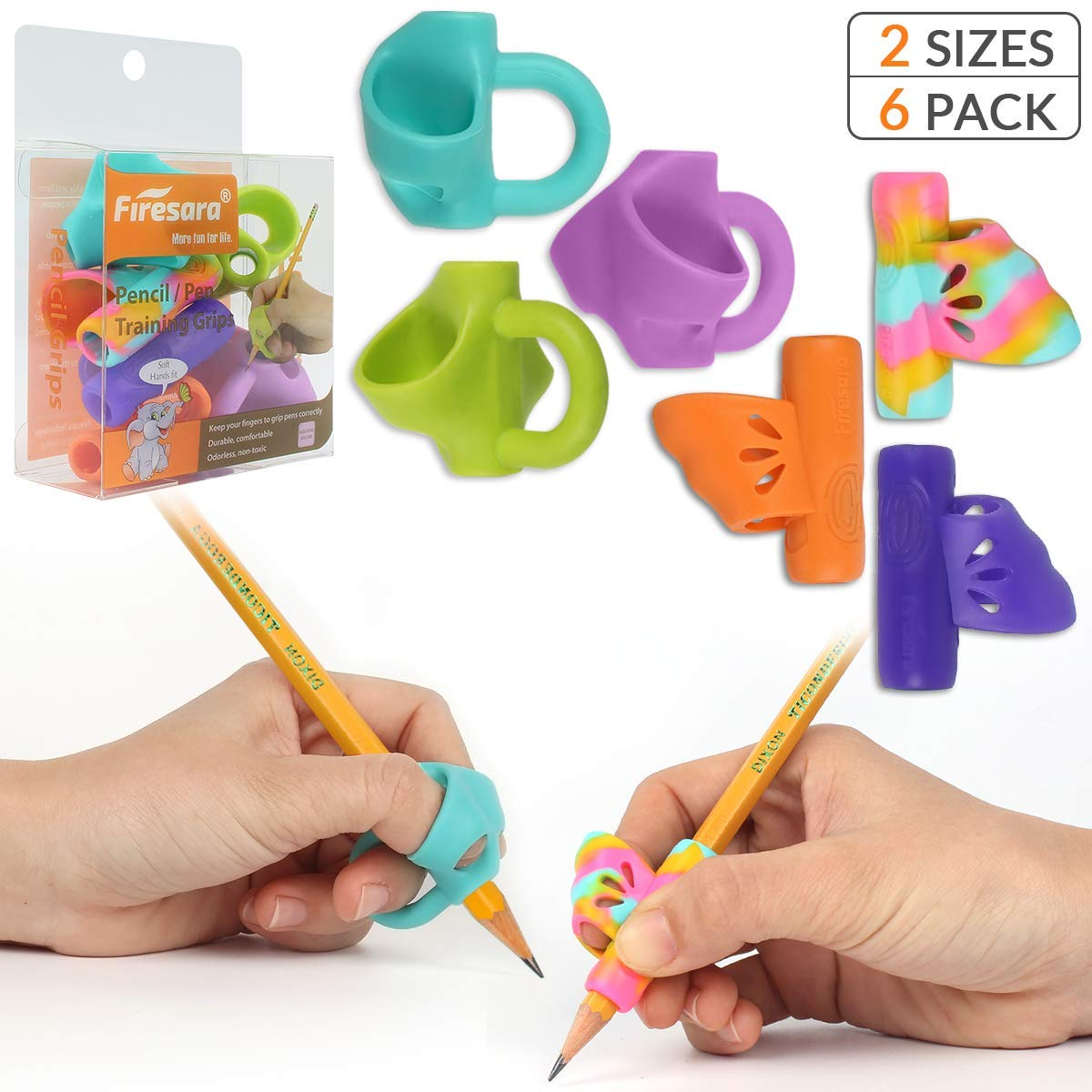 Pencil Grips, Firesara New Professional Pencil Aid Grip Set Teach Writing Tools Butterfly and 3 Fingers Sets Ergonomic Writing Aid for Kids Preschoolers Children Adults Arthritis 2 Types (6Pcs)