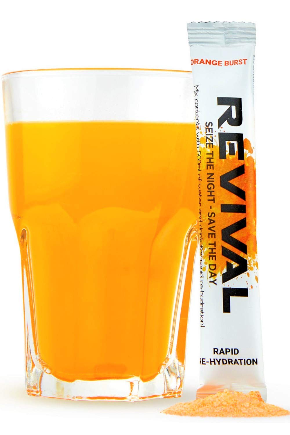 Revival Rapid Hydration Electrolyte Powder, Recovery Drink Packets, Hangover, Sport, Health & Immune Supplement - Orange 6 Pack