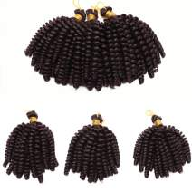 6 Inch Short Curly Jamaican Bounce Crochet Hair Synthetic Jumpy Wand Curl Braids Crochet Hairpiece Spring Twist Braiding Hair Extensions For Black Women (Dark Wine Red)