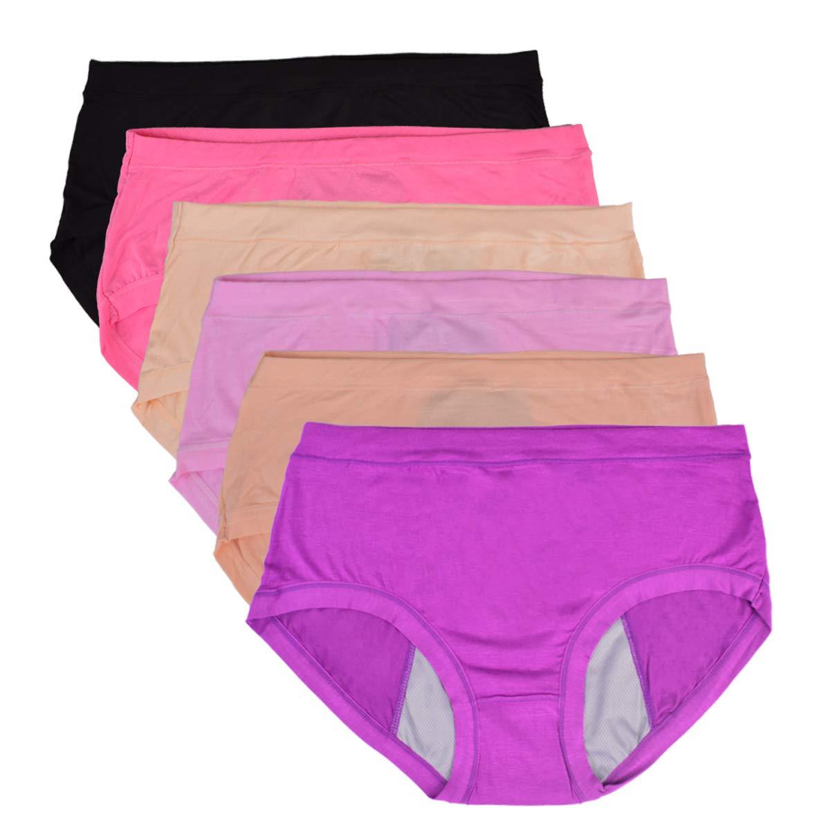 Bolivelan 6 Pack Women's Leakproof Briefs Mid-Rise Bamboo Fiber Panties