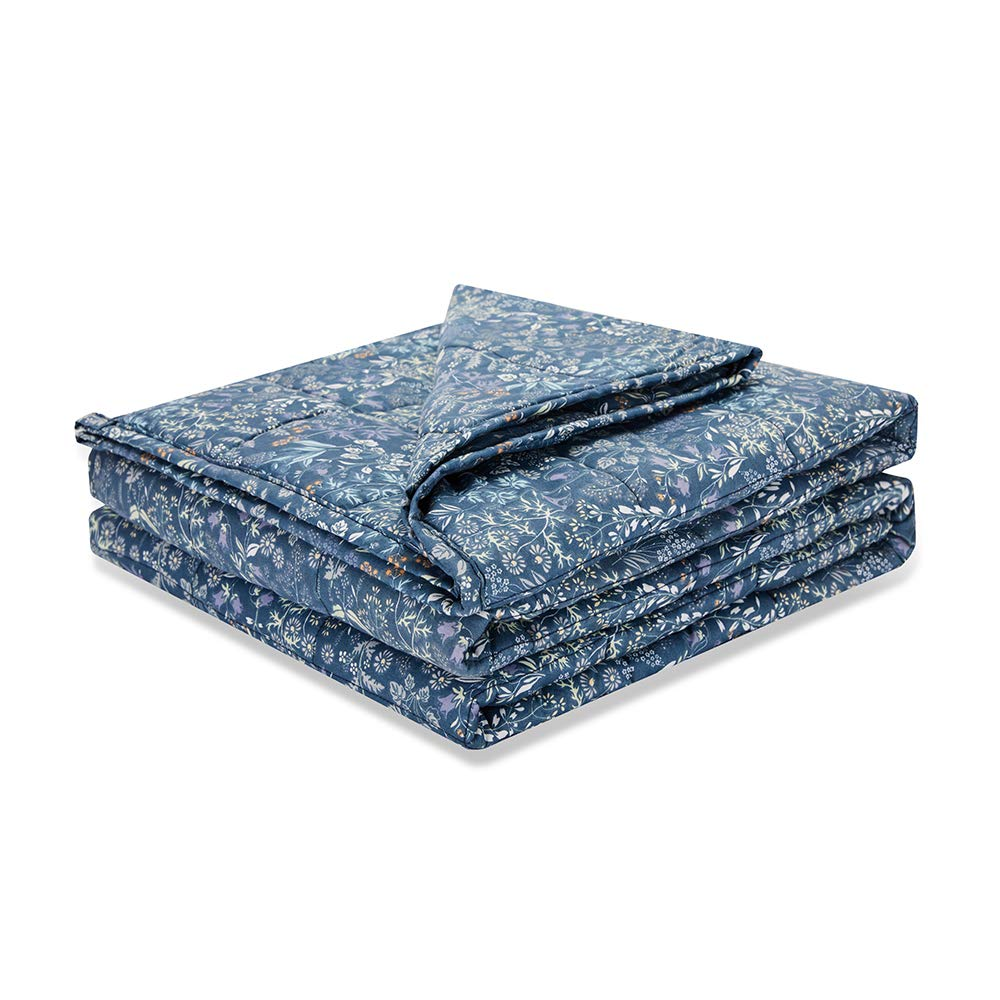 Weighted Idea Cool Weighted Blanket 15 lbs (48''x78'', 100% Natural Cotton, Naby Blue Flower)