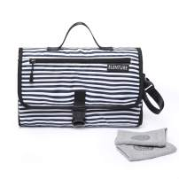 ELENTURE Diaper Changing Pad, Baby Infant Portable Travel Changing Station Mat Bag (Black/White Stripe)