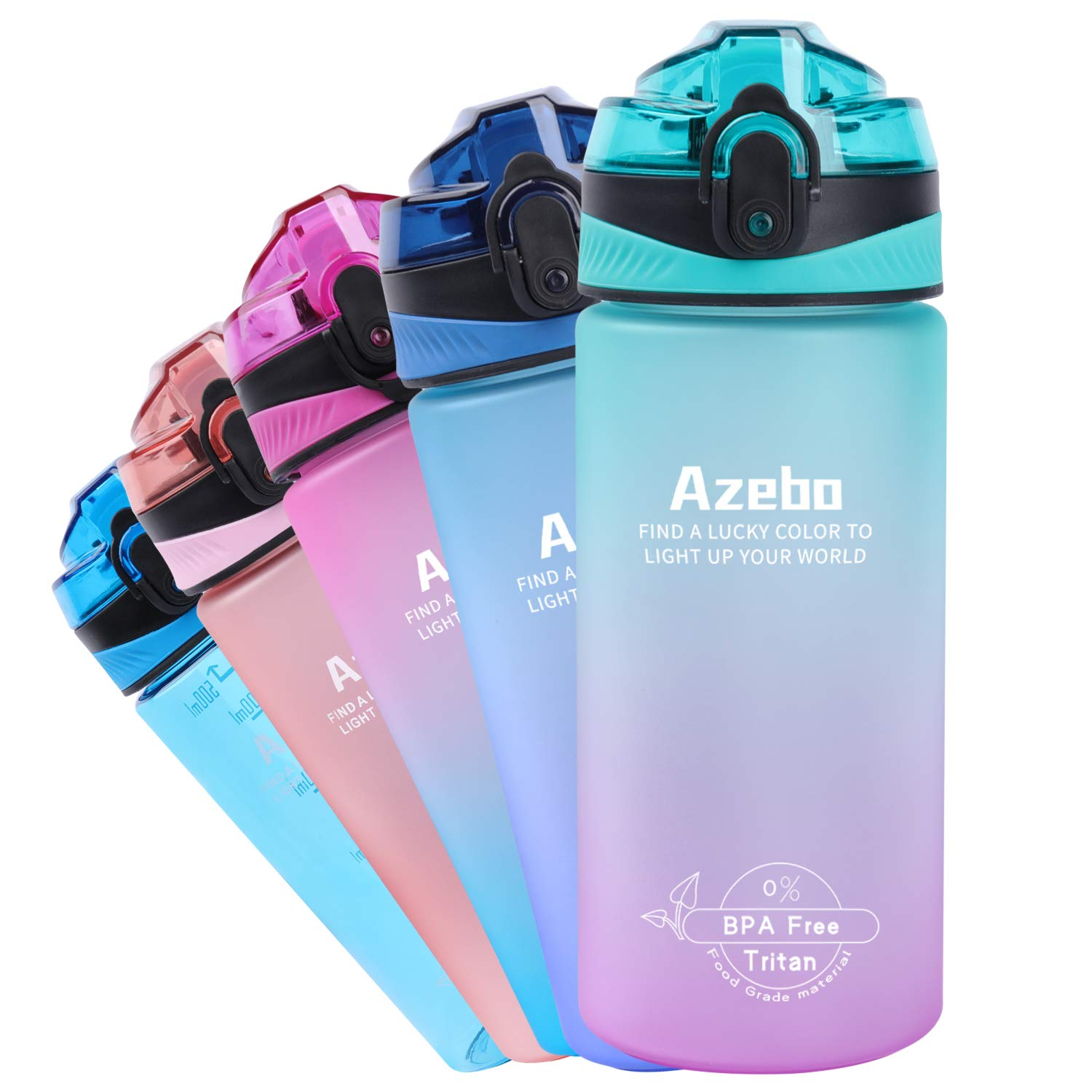 Azebo 18oz Small Water Bottle with Time Marker To Drink & Removable Strainer Infuser Tritan BPA Free Non-Toxic 500ml for Fitness Sports Outdoors and Office Mint Green/Pink Gradient