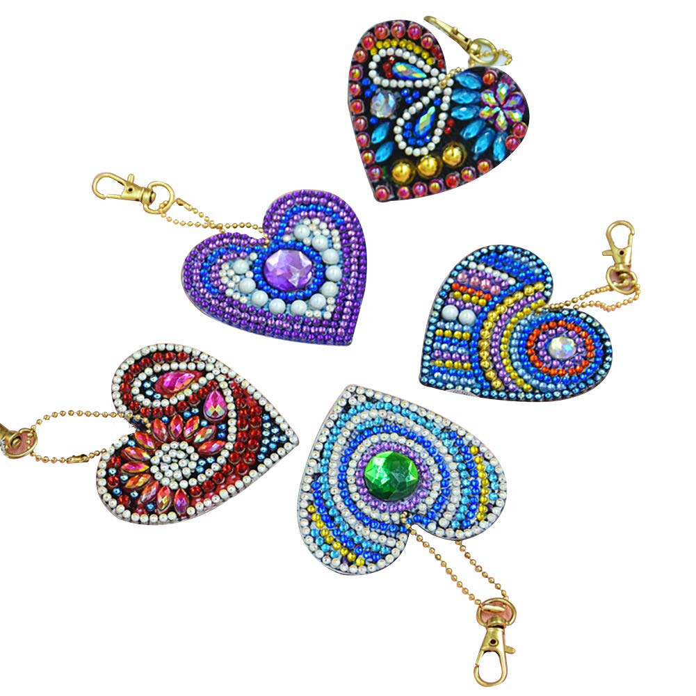 Diamond Painting Keychain Kit for Kids and Adults, DIY Full Drill Diamond Painting Art Crafts Heart Shape 5 Pack