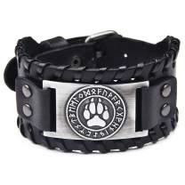 GelConnie Viking Bracelet Nordic Bracelets Punk Leather Cuff Bracelet Gothic Leather Wristband Amulet Scandinavian Talisman Pagan Jewelr
