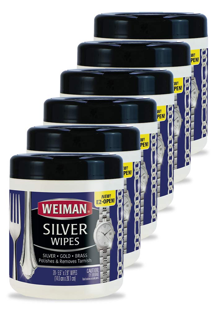 Weiman Silver Wipes - Jewelry Wipes 6 Pack - Cleaner and Polisher for Silver Jewelry Sterling Silver