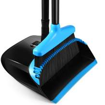 """Homemaxs Broom and Dustpan Set, [2021 Upgraded] Broom and Dustpan with 54.7"""" Long Handle Upright Stand Up Broom and Dustpan Set for Home Kitchen Room Office Lobby Floor Blue"""
