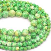 """Oameusa 10mm Agate Beads White Green Rainstone Beads Gemstone Round Loose Beads Agate Beads for Jewelry Making 1 Strand 15"""" 1 Strand per Bag-Wholesale"""