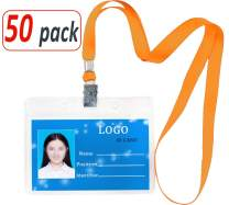 Aobear 50 pcs Upgrade Top Quality Waterproof Transparent Horizontal Name Tag id Badges and 50 pcs lanyards (Orange)