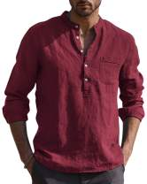 AUDATE Mens Loose Cotton Shirt Casual Beach Long Sleeve V Neck Henley Tops Tunic