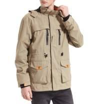 Yozai Mens Lightweight Spring Jacket Windbreaker with 8 Pockets Khaki XX-Large