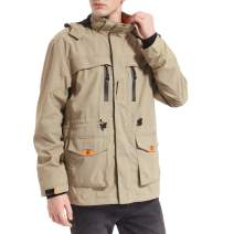 Yozai Mens Lightweight Spring Jacket Windbreaker with 8 Pockets Khaki XX-Large