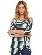 Halife Women's Cold Shoulder 3 4 Sleeve Twist Knot Front Blouses Striped Tshirts