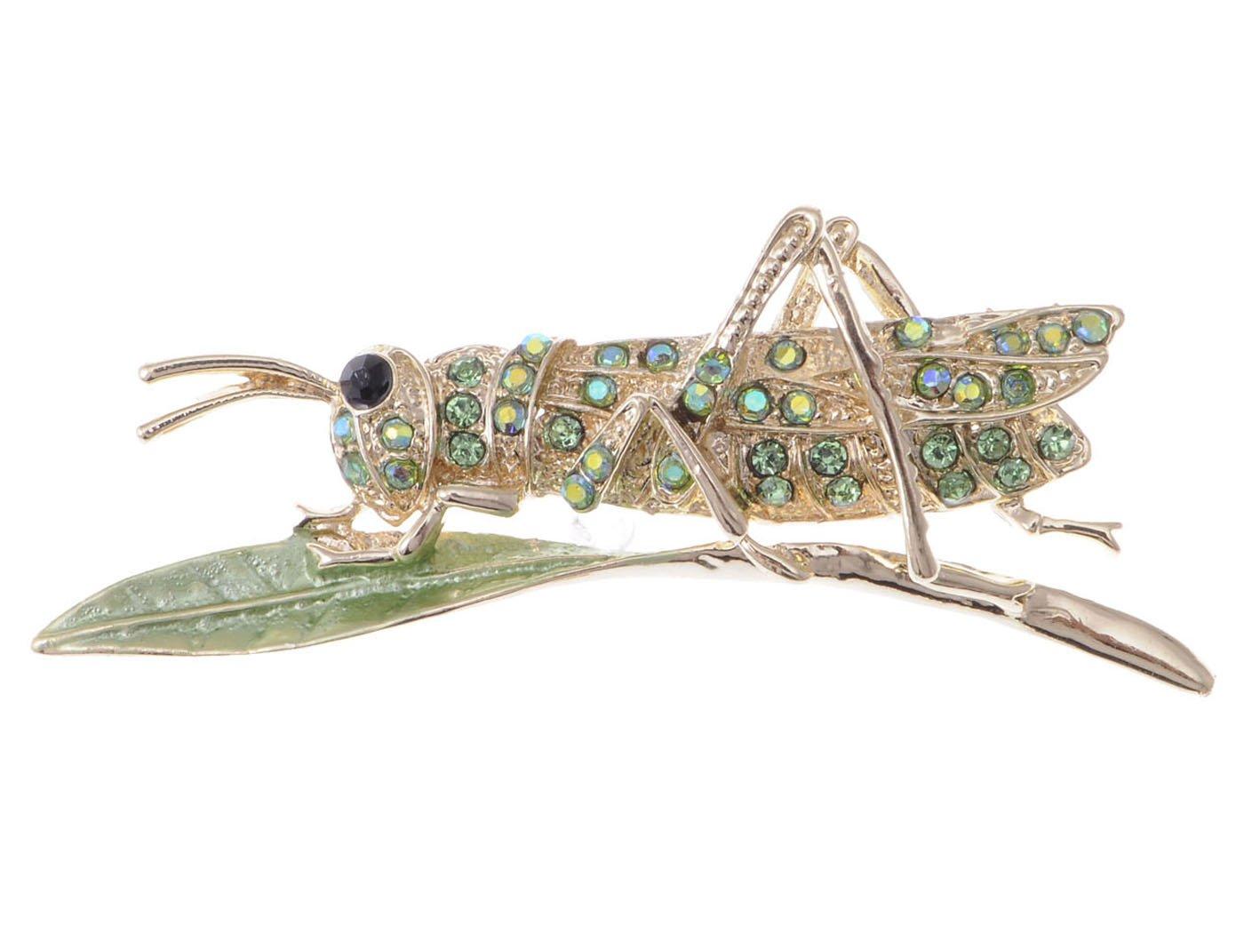 ALILANG Synthetic Peridot Green Rhinestone Crystal Insect Grasshopper Locust Leaf Big Pin Brooch