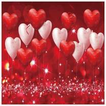 Allenjoy 8x8ft Fabric Valentine's Day Backdrop Red Hearts Balloons Love Theme Party Supplies for Engagement Wedding Bridal Shower Photography Background Studio Portrait Pictures Shoot Props Favors