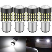 KATUR 1157 BAY15D 1016 1034 7528 Led Light Bulb High Power 3014 54 Chipsets Super Bright 650 Lumens Replace for Turn Signal Back Up Reverse Brake Tail Stop Parking RV Lights,Xenon White(Pack of 4)