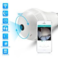 Full HD 1080P Light Bulb Camera 360°Panoramic WiFi Camera Two Way Audio Nightvision Motion Detection 128G SD Card Slot Home Security Camera Baby Monitor Pet Monitor
