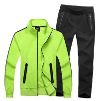 Real Spark Men's Athletic Full Zip Striped Warm-up Tracksuit Casual Jogging Sweat Suit