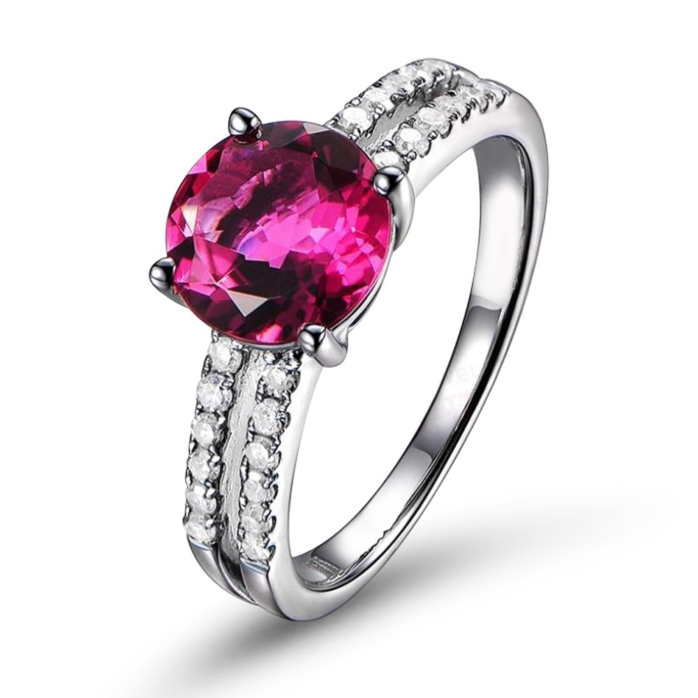 Fashion Natural Pink Tourmaline Gemstone Real Diamond 14K Solid White Gold Wedding Engagement Band Ring for Women