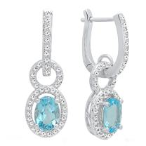 Dazzlingrock Collection 14K 7X5 MM Each Oval Gemstone & Round White Diamond Ladies Dangling Earrings, White Gold