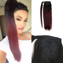 Moresoo 16 Inch Short Ponytail Extension Color Ash Blonde #18 Highlighted with Blonde #613 Human Hair Ponytail for Black Women 60g Wrap Around Blonde Ponytail