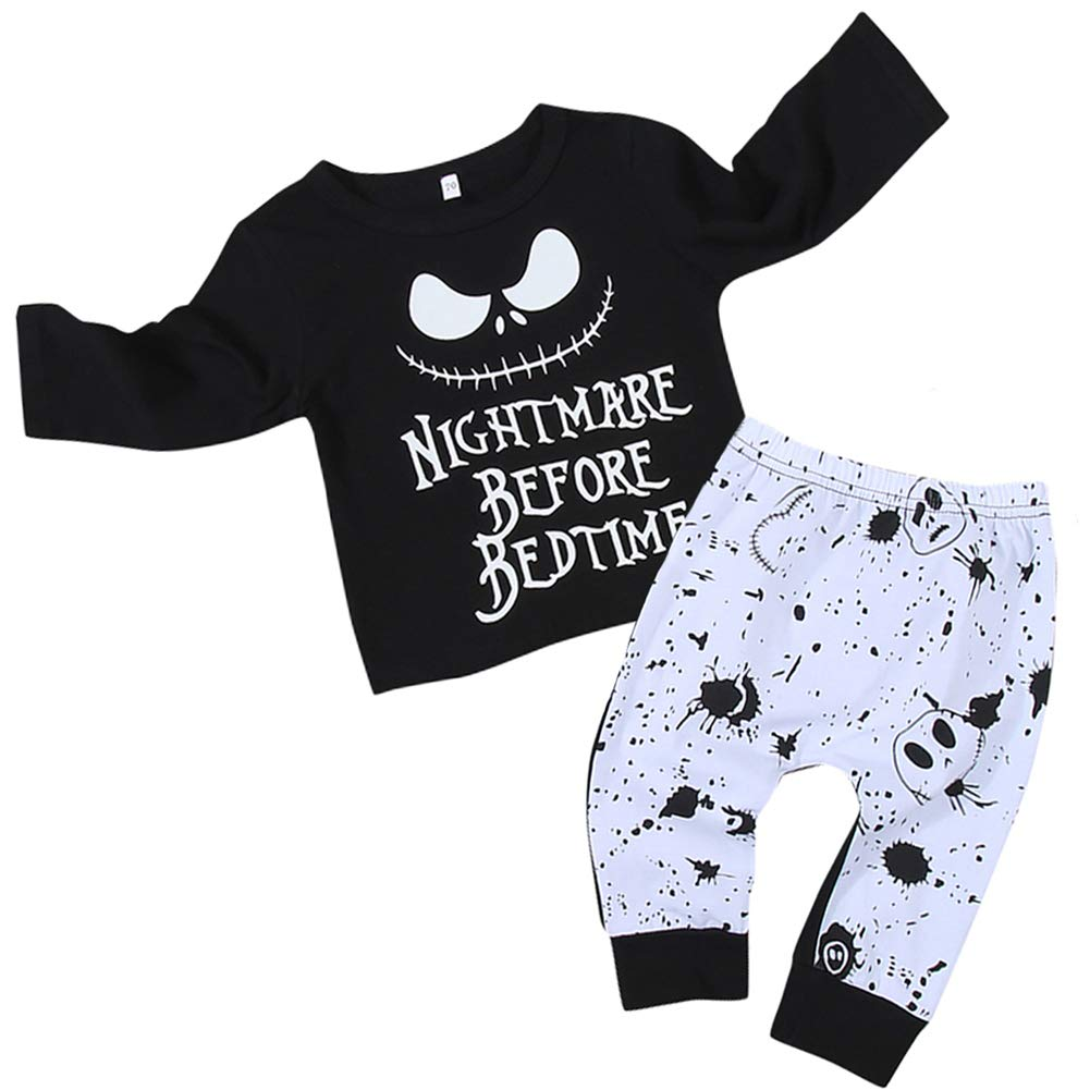Toddler Little Boy Kids Hawaiian Shorts Sleeve Set Summer Outfits Tops + Sunflower Print Pants Sets 1-5 Years Boys Clothes (Black, Nightmare(18-24months))