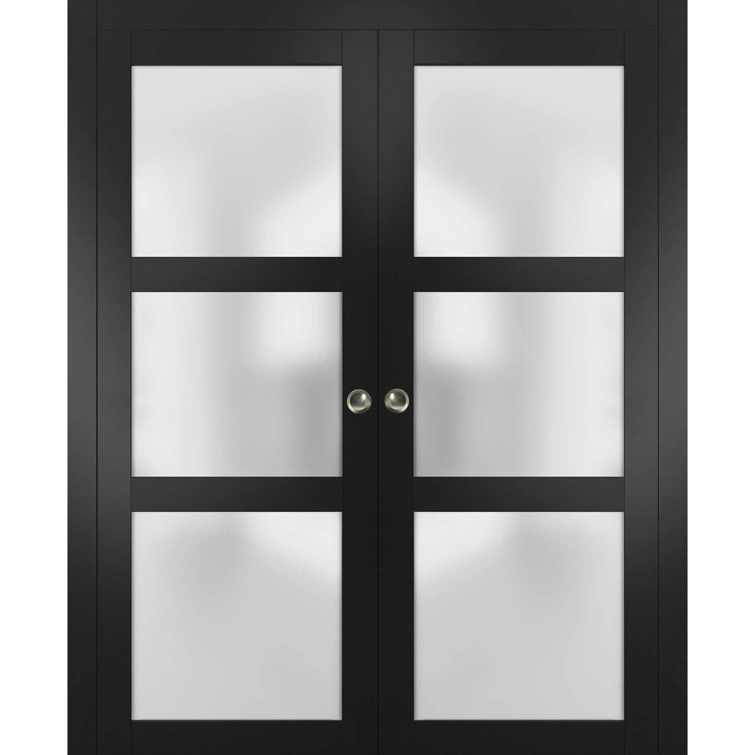 Sliding French Double Pocket Doors 36 x 80 inches Frosted Glass   Lucia 2552 Matte Black   Kit Trims Rail Hardware   Solid Wood Interior Bedroom Sturdy Doors