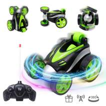 VCOSTORE Remote Control Car, Up-Right Walking 360°Rotation Spin and Flips Remote Control Cars for Boys&Girls Birthday Gifts, Light Radio Control Cars for Childs Age 5 6 7 8 9 10+ (Green)