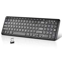 Loreran Wireless Keyboard Ultra Slim Keyboard Full Size Keyboard with Number Keypad for PC Laptop Desktop Notebook Smart TV Tablet, Black