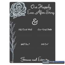 Cohas Wedding and Engagement Ever After Story Board with White Rose, Reusable Chalkboard Style Surface, and Liquid Chalk Marker, 12 by 16 Inches, Pastel Silver Marker