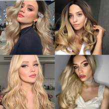 Ombre Blonde Synthetic Wigs Ombre Long Natural Wavy Rose Net Synthetic Hair Wigs for Women Middle Parting None Lace Heat Resistant Replacement Wig Full Machine Made (20inch, 1B-Blonde)